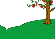 Apple tree. Alone apple tree and drawing arts Royalty Free Stock Photo