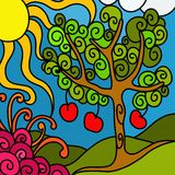 Apple tree. Abstract background with apple tree stock illustration