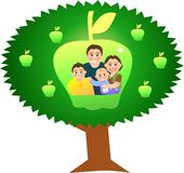 Apple tree. Vector illustration for a relationship for family with apple tree background Stock Image
