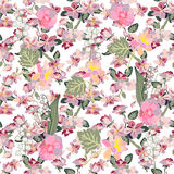 Apple tree blossom, peonies and lilies of the valley. Seamless floral pattern with small spring flowers. Oriental textile collection Stock Photography