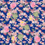 Apple tree blossom, peonies and lilies of the valley. Seamless floral pattern with small spring flowers. Oriental textile collection Royalty Free Stock Photos