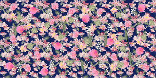 Apple tree blossom, peonies and lilies of the valley. Seamless floral pattern with small spring flowers. Oriental textile collection Royalty Free Stock Photography