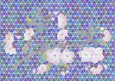 Apple tree branch on triangle background. Illustration of abstract apple tree branch on colorful triangle mosaic background Royalty Free Stock Photo
