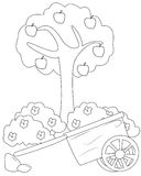 Apple tree and a cart coloring page. Useful as coloring book for kids royalty free illustration
