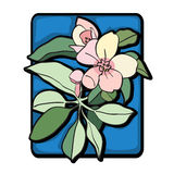 Apple tree clip art blue Stock Image