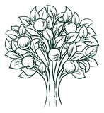 Apple Tree Concept. A conceptual illustration of an apple tree icon stock illustration