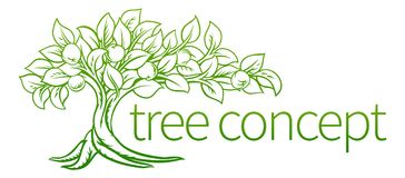 Conceptual Tree Icon. An apple tree concept icon illustration with roots stock illustration