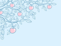 Apple tree corner background. Vector apple tree corner background with hand drawn floral elements royalty free illustration