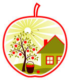 Apple tree and cottage in apple Royalty Free Stock Image