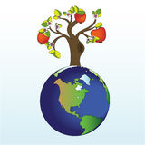Apple tree on Earth. Vector illustration of apple tree on Earth Royalty Free Stock Photo