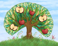 Apple tree with fruits on hill Royalty Free Stock Images