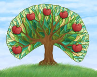 Apple tree with fruits on hill Stock Photo