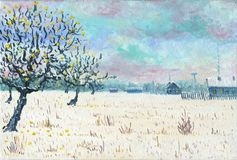 Apple-tree garden near the village. Oil Painting. Apple-tree garden near the village.Winter Time, on the snow are apples.In the background there are houses and a Royalty Free Stock Images
