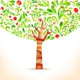 Apple tree. Green abstract apple tree. Vector illustration Royalty Free Stock Image