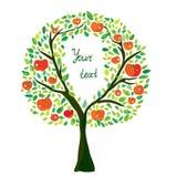 Apple tree illustration with frame Stock Image