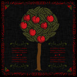 Apple tree label woodcut Stock Photography
