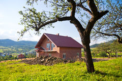Apple tree and new house Royalty Free Stock Images