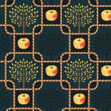 Apple tree pattern. Apple trees and apples in a rope frames on dark background. Vintage seamless pattern Royalty Free Stock Photo