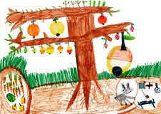 Apple tree and rabbit in a hole. Children drawing stock illustration