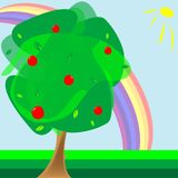 Apple tree and rainbow. Abstract composition; vector art illustration Royalty Free Stock Images