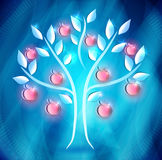 Apple tree. With red apples on a abstract blue background vector illustration