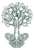 Apple Tree Roots Concept. A conceptual illustration of an apple tree with stylised roots stock illustration