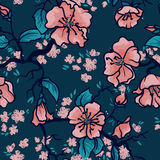 Apple tree or sakura flowers background. Seamless pattern with blooming tree branches, apple tree or sakura flowers background, vector illustration Royalty Free Stock Photography