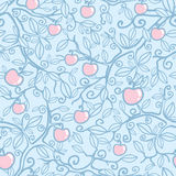 Apple tree seamless pattern background. Vector apple tree seamless pattern background with hand drawn floral elements vector illustration