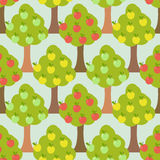 Apple tree seamless pattern. Orchard background Stock Photos