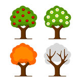 Apple Tree Set. On White Background. Vector Stock Image