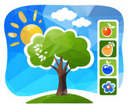 Apple tree. Stylized apple tree with fruits on a blue background Royalty Free Stock Images