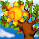 Apple tree and sun Royalty Free Stock Photos