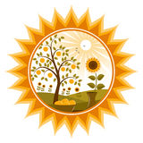 Apple tree and sunflowers in sun. Illustrated apple tree and sunflowers in sun Royalty Free Stock Images