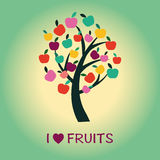 Apple Tree symbol of healthy food and fruits Stock Photography
