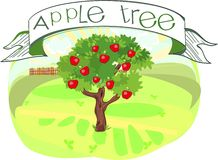 Apple tree with title. Green apple tree with title Royalty Free Stock Images