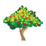 Apple tree. Vector illustration on white Stock Photos