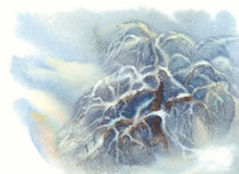 Apple tree winter watercolor Royalty Free Stock Images