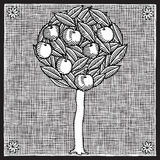 Apple tree woodcut Royalty Free Stock Images