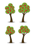 Apple trees with fruits, vector. Group of stylized abstract apple trees with fruits, vector Royalty Free Stock Photo