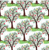 Apple trees with fruits, vector. Seamless repeating pattern with apple trees with fruits, vector Stock Images
