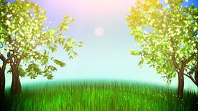Apple trees loop. Cartoon animation spring, green meadow with two flowering apple trees and flying pollen stock video footage