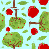 Apple Trees Seamless Pattern. A seamless pattern built from apple trees, apples, and leaves Royalty Free Stock Photography