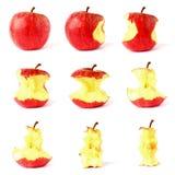 Apple trennte auf weißem Hintergrund stockfotos