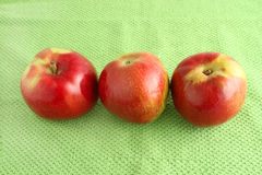 Apple trio on green cloth background Stock Photo