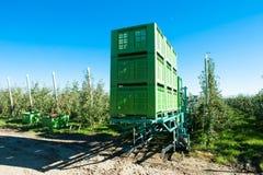 Apple-tuin met geautomatiseerde machine om te oogsten Stock Foto's
