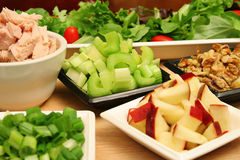 Apple tuna walnut salad ingredients Stock Image