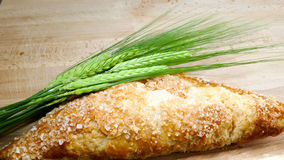 Apple turnover with crop barley on wooden background Stock Photos