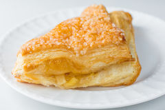 Apple turnover pastry on plate with white background close up Stock Photography