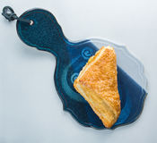 Apple turnover pastry on platter on white background top view Royalty Free Stock Photos