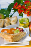 Apple turnovers pastries. And fruirs Stock Image